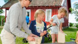 Barn som snekrer insekthus på åpen dag Ilene. Foto: Birgit Brosø